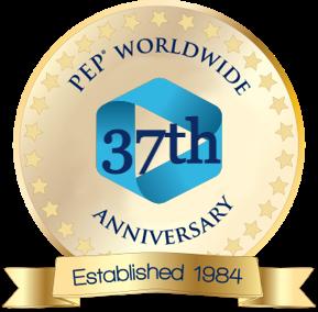 PEP worldwide 35 year anniversary logo, established in 1984